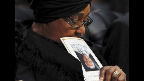 Madikizela-Mandela attends her ex-husband's state funeral in 2013.