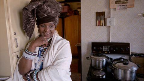 Madikizela-Mandela poses in traditional dress in 1986.
