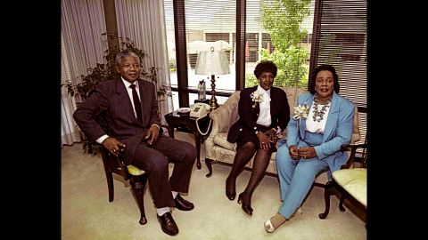 The Mandelas meet with Coretta Scott King, widow of civil-rights leader Martin Luther King Jr., in 1990.