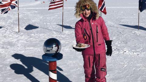 Hameister smiles as she serves her trolls from Antarctica.