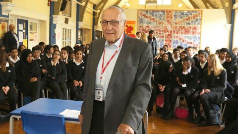 Manfred Goldberg frequently visits schools to tell of his experiences in the Nazi concentration camps.