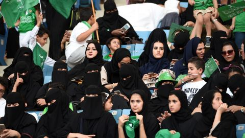 Genders mix in a Saudi stadium. Saudi stadiums recently opened their doors to women as part of the string of reforms.