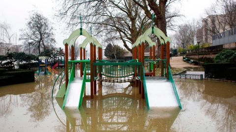 A children's playground in Paris is flooded alongside the Seine on Saturday.