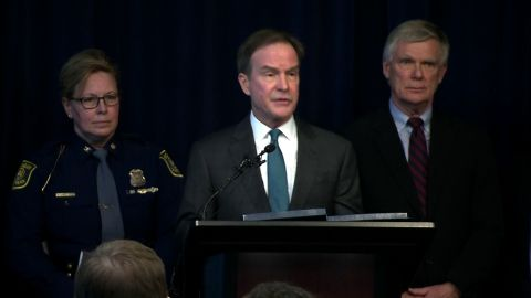Michigan Attorney General Bill Schuette, flanked by Michigan State Police Director Kriste Etue and special prosecutor William Forsyth, said no one at Michigan State University will be off limits to the investigation.