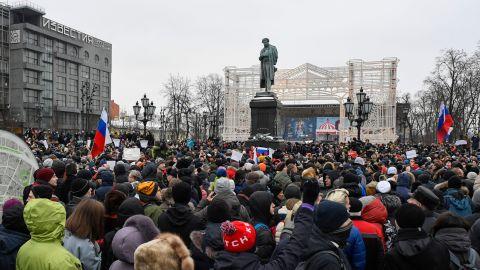 Hundreds of demonstrators fill Pushkinskaya Square in central Moscow.