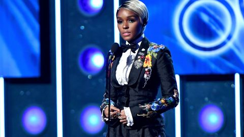 Janelle Monae speaks onstage during the 60th Annual GRAMMY Awards.