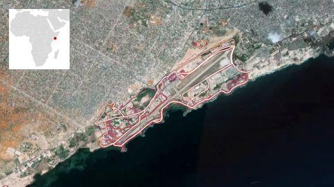 The Strava heatmap showing the Mogadishu airport.