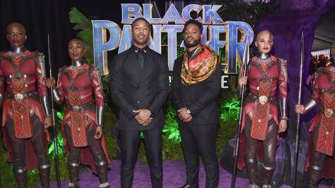 Michael B. Jordan (left) and writer/director Ryan Coogler at the 'Black Panther' world premiere.