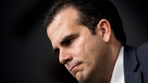 """Puerto Rico's Governor Ricardo Rossello listens during a press conference on Capitol Hill January 10, 2018 in Washington, DC. The Puerto Rico Statehood Commission held a news conference """"to demand to be seated in the United States House of Representatives and Senate as the legitimate lawmakers of America's 51st state.""""  / AFP PHOTO / Brendan SmialowskiBRENDAN SMIALOWSKI/AFP/Getty Images"""