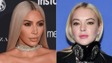 """When Lindsay Lohan, right, said in January 2018 that she was confused by Kim Kardashian West's new hairstyle, the TV reality star clapped back with """"You know what's confusing..... Your sudden foreign accent."""""""