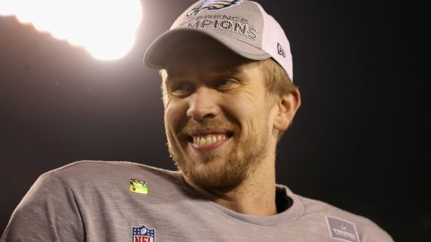Nick Foles celebrated after the Eagles defeated the Vikings 38-7 in the NFC championship game on January 21 at Lincoln Financial Field.