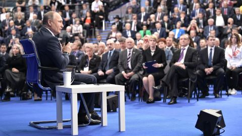 Russian President Vladimir Putin meets with his confidants ahead of March 18 presidential elections in Moscow on January 30, 2018. / AFP PHOTO / Sputnik / Alexey NIKOLSKY        (Photo credit should read ALEXEY NIKOLSKY/AFP/Getty Images)