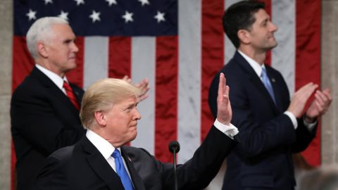 WASHINGTON, DC - JANUARY 30:  U.S. President Donald J. Trump waves during the State of the Union address as U.S. Vice President Mike Pence (L) and Speaker of the House U.S. Rep. Paul Ryan (R-WI) (R) look on in the chamber of the U.S. House of Representatives January 30, 2018 in Washington, DC. This is the first State of the Union address given by U.S. President Donald Trump and his second joint-session address to Congress.  (Photo by Win McNamee/Getty Images)