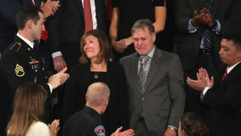 Fred and Cindy Warmbier are acknowledged during the State of the Union address in the House of Representatives on January 30, 2018 in Washington, DC. (Photo by Mark Wilson/Getty Images)