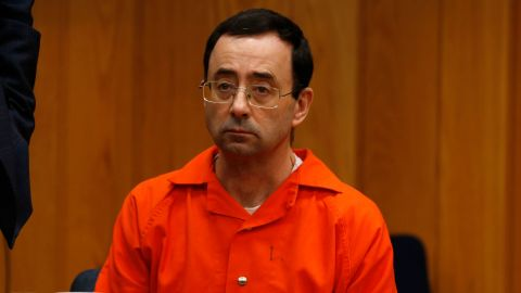 Former Michigan State University and USA Gymnastics doctor Larry Nassar listens during the sentencing phase in Eaton, County Circuit Court on January 31, 2018 in Charlotte, Michigan. Last week Nassar was sentenced in Ingham County to 40 years to 175 years in prison. The number of identified sexual abuse victims of former USA Gymnastics doctor Larry Nassar has grown to 265, a Michigan judge announced Wednesday as a final sentencing hearing commenced. Prosecutors said at least 65 victims were to confront Nassar in court, in the last of three sentencing hearings for the disgraced doctor who molested young girls and women for two decades in the guise of medical treatment.  / AFP PHOTO / JEFF KOWALSKY        (Photo credit should read JEFF KOWALSKY/AFP/Getty Images)