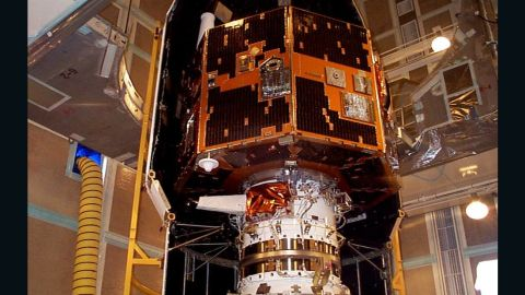 The IMAGE spacecraft is seen undergoing launch preparations in early 2000.