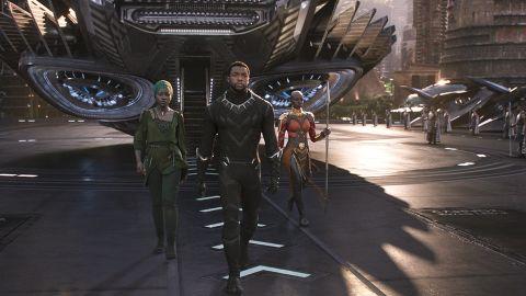 "Lupita Nyong'o, Chadwick Boseman and Danai Gurira star in the Marvel film  ""Black Panther."""