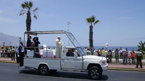 """During his January 2018 visit to the city of Iquique, Chile, Pope Francis waves from the back of a modified Toyota popemobile. Take a look at how the Pope's wheels have evolved over the years.<br /><br /><em>To learn more about the history of the papacy, watch the new CNN Original Series, </em><a href=""""https://www.cnn.com/shows/pope""""><em>""""Pope: The Most Powerful Man in History,""""</em></a><em> Sundays at 10 p.m. ET/PT.</em>"""