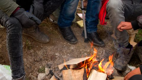 Migrants in Calais, France, camp out in February 2018. Many aim to make it to the United Kingdom to seek asylum.