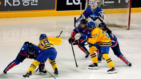 INCHEON, SOUTH KOREA - FEBRUARY 04:  The athletes of Team Korea in acgtion during the Women's Ice Hockey friendly match against Sweden at Seonhak International Ice Rink on February 4, 2018 in Incheon, South Korea. The friendly match was held ahead of the Olympic Games where South and North Korea competes for the first time as a unified team in a sport at the Olympic Games. 4 North Korean athletes; Suhyun Jong No.26, Songhui Ryo No.14, Unhyang Kim No.4 and Chunggum Hyong No. 30 got position on the Starting Line-up.  (Photo by Woohae Cho/Getty Images)