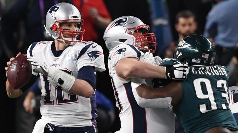 <strong>Most passing yards in a Super Bowl:</strong> Tom Brady, then with the New England Patriots, threw for 505 yards in 2018 -- and his team still lost to Philadelphia 41-33. Brady broke the record he set just one year earlier when he led his team to a 34-28 overtime victory over Atlanta.