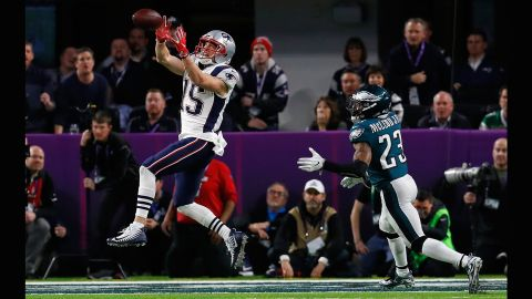 New England wide receiver Chris Hogan pulls in a touchdown pass in the third quarter. New England still trailed 29-26 going into the fourth quarter.