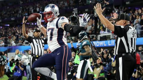 Gronkowski does a celebration dance in the end zone.