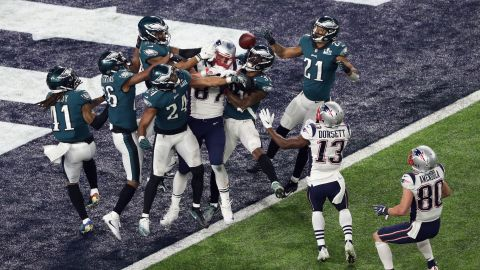 """The Patriots tried a """"Hail Mary"""" pass on the last play of the game, but it fell incomplete."""