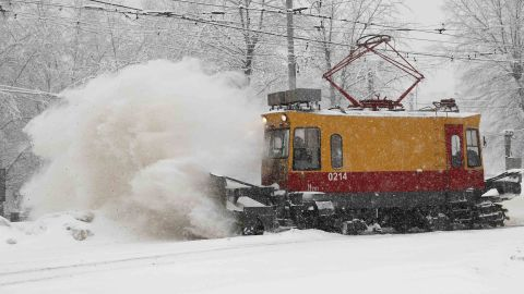 A tramway track is cleared of snow.