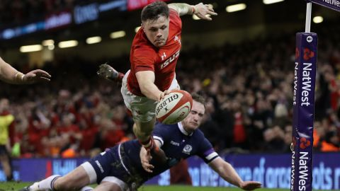 Steff Evans (pictured) and Gareth Davies also crossed the line for Wales.