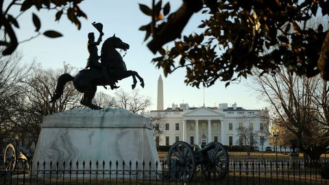 A statue of Andrew Jackson at the Battle of New Orleans occupies the center of Lafayette Square on the north side of the White House January 20, 2018 in Washington, DC. The federal government was partially shut down at midnight after Republicans and Democrats in the Senate failed to find common ground on a budget.  (Chip Somodevilla/Getty Images)