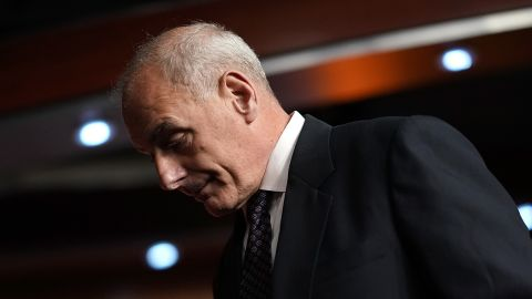 John Kelly, Secretary of Homeland Security, departs Paul Ryan's weekly press conference at the U.S. Capitol  June 29, 2017 in Washington, DC. Kelly addressed pending immigration legislation before the House of Representatives during his remarks.  (Photo by Win McNamee/Getty Images)