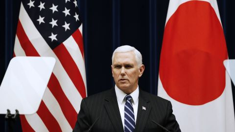 US Vice President Mike Pence attends their joint announcement with Japan's Prime Minister Shinzo Abe after their joint announcement after their meeting at Abe's official residence in Tokyo on February 7, 2018.   Pence is in Tokyo for three days before leading a US delegation to the opening ceremony of the politically tinged Pyeongchang 2018 Winger Olympic Games on February 9. / AFP PHOTO / POOL / TORU HANAI        (Photo credit should read TORU HANAI/AFP/Getty Images)