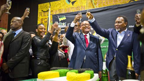 Zuma toasts his 70th birthday in April 2012.