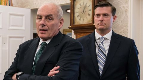 White House senior adviser Jared Kushner (L), White House chief of staff John Kelly (C) and White House staf secretary Rob Porter look on after US President Donald Trump signed a proclamation calling for a national day of prayer on September 3 for those affected by Hurricane Harvey in the Oval Office at the White House in Washington, DC, on September 1, 2017. / AFP PHOTO / NICHOLAS KAMM        (Photo credit should read NICHOLAS KAMM/AFP/Getty Images)