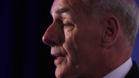 """WASHINGTON, DC - JUNE 28:  U.S. Secretary of Homeland Security John Kelly addresses the Center for a New American Security """"2017 Navigating the Divide Conference"""" June 28, 2017 in Washington, DC."""