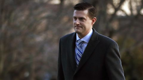 White House staff secretary Rob Porter, left, walks with White House senior adviser Stephen Miller from Marine One across the South Lawn of the White House in Washington, Monday, Feb. 5, 2018, as they return with President Donald Trump form Ohio. (AP/Manuel Balce Ceneta)