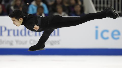 FILE - In this Saturday, Jan. 6, 2018, file photo, Nathan Chen performs during the men's free skate event at the U.S. Figure Skating Championships in San Jose, Calif. As olympic figure skaters head to the Pyeongchang Olympics, the men who will compete for medals know what the deciding factor will be: that four-revolution jump, and how many you land. Two-time U.S. champion Chen plans five in his free skate. (AP Photo/Tony Avelar, File)