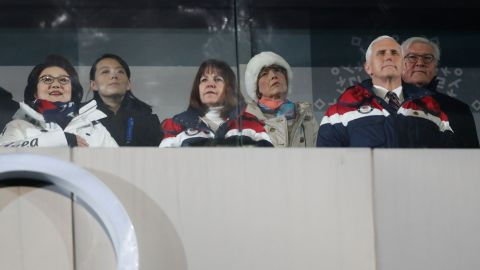 US Vice President Mike Pence (front right),  (front R), his wife Karen (front center), North Korea's leader Kim Jong Un's sister Kim Yo Jong (2nd Left) and Kim Jung-Sook (Left), the wife of South Korea's President Moon Jae-in, attend the opening ceremony of the Pyeongchang 2018 Winter Olympic Games.