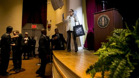 Ginsburg arrives to speak at New York University's law school in February 2018.