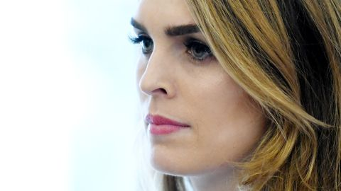 White House communications director Hope Hicks looks on during a meeting between President Trump and Don Bouvet, who has been battling cancer in the Oval Office of the White House, February 9, 2018 in Washington, DC. (Photo by Olivier Douliery-Pool/Getty Images)