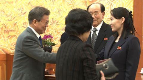 Footage of Moon's meeting with NK officials, including Kim Yo Jong (Kim Jong Un's sister).