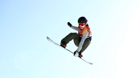 Staale Sandbech of Norway snowboards in the slopestyle competition.