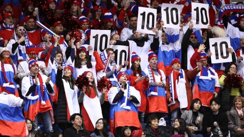 Russian fans cheer during the team figure skating short dance qualification.