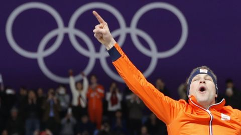 Dutch speedskater Sven Kramer won the 5,000 meters for the third straight Olympics. He's the first man in Olympic history to win eight speedskating medals.