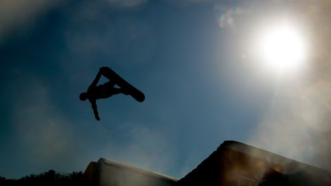 Silver medal winner Max Parrot of Canada competes in the men's snowboarding slopestyle finals.