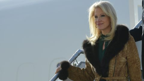 White House counselor Kellyanne Conway steps off Air Force One upon arrival at John F. Kennedy International Airport in New York, New York on December 2, 2017.  Trump is in New York to attend fundraisers.  / AFP PHOTO / MANDEL NGAN        (Photo credit should read MANDEL NGAN/AFP/Getty Images)