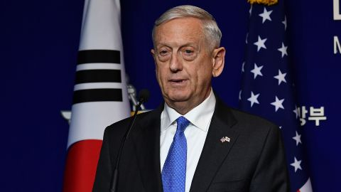 SEOUL, SOUTH KOREA - OCTOBER 28: U.S. Secretary of Defense James Mattis attends the joint press conference after the 49th Security Consultative Meeting (SCM) at Defense Ministry on October 28, 2017 in Seoul, South Korea. Mattis is in South Korea ahead of the visit by U.S. President Donald Trump. (Photo by Song Kyung-Seok-Pool/Getty Images)