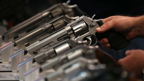 Smith and Wesson handguns are displayed during the 2015 NRA Annual Meeting & Exhibits on April 10, 2015 in Nashville, Tennessee.