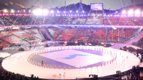 The Unified Korea delegation parades during the opening ceremony of the Pyeongchang 2018 Winter Olympic Games at the Pyeongchang Stadium on February 9, 2018. / AFP PHOTO / POOL / Sean M. Haffey        (Photo credit should read SEAN M. HAFFEY/AFP/Getty Images)